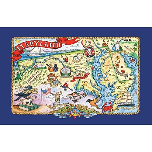 Kay Dee Designs Adventure Destinations Maryland Map Tea Kitchen Towel 18 x 28 Various 6 Piece