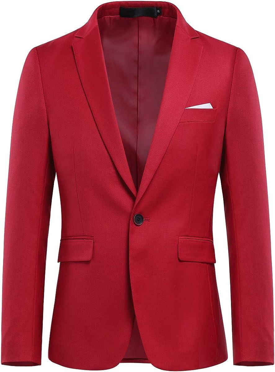 Allthemen Chaqueta de hombre con abertura trasera de un botón, monocolor, para negocios, negocios