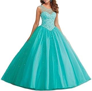 20c7efb90 XUYUDITA Vestidos de Baile Tulle larga Perlas Sheer Neckline Quinceanera  vestidos de baile 2017