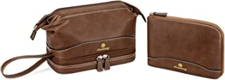 Plambag Hanging Travel Toiletry Bag Set, Multifunction Dopp Kit Organizer for Cosmetics, Personal Care, Trip Accessories(Brown)
