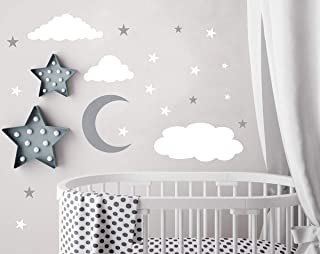 Clouds Wall Decals Moon and Stars Wall Decal Kids Wall Decals Wall Stickers Peel and Stick Removable Wall Stickers Baby Room Decoration Good Night Nursery Wall Decor