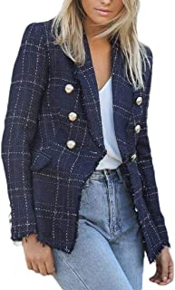 Womens Plaid Print Notched Lapel Long Sleeve Double Breasted Blazers