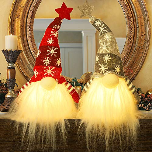 Juegoal 15' Lighted Christmas Gnome, Handmade Plush Scandinavian Swedish Tomte, Light Up Elf Toy Holiday Present, Battery Operated Winter Tabletop Christmas Decorations, 2 Set