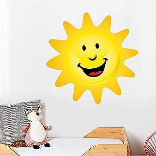 Nuevo Diseño De Dibujos Animados Feliz Sol Pegatinas De Pared A Todo Color Para Niños Habitación Extraíble Impermeable Arte De La Pared Calcomanías Papel Tapiz Decoración Del Hogar