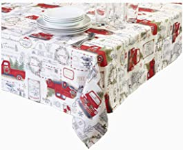 Winter Wonder Christmas Tablecloth Red Pickup Truck Print Textured Fabric for The Holidays (52 x 70 Rectangle)