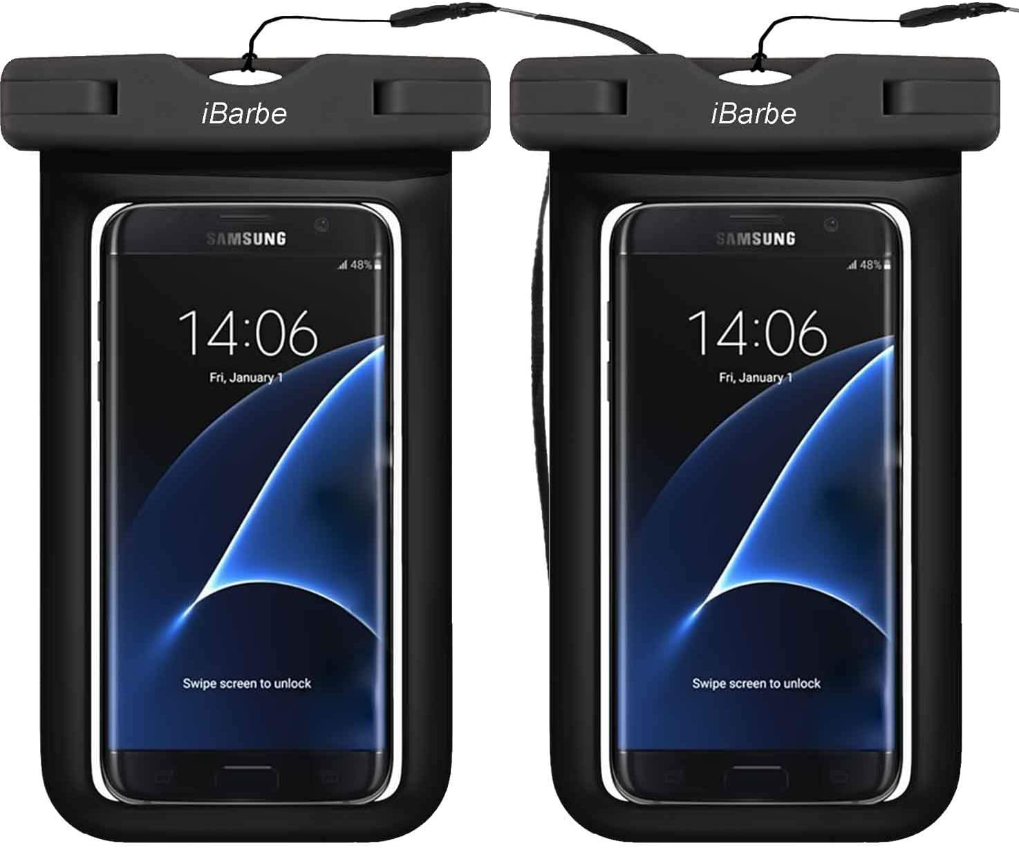 2 Pack Universal Waterproof Case, Cellphone Dry Bag Pouch Compatible with Phone 11 PRO MAX X XS MAX,8,7,6S,6,6S Plus,SE,5S,Galaxy s9,s8,S7,S6 Edge Note 7 5, Motorola up to 6.3