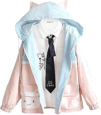 Kawaii Chaquetas lindas con bolsillo de gato a juego con capucha japonesa para niñas estampado de manga larga sueltas con cremallera para mujer