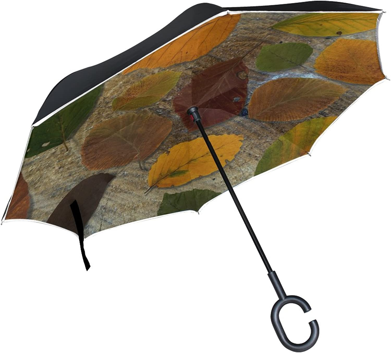 Double Layer Ingreened Leaves Beech Book Leaves Wood Umbrellas Reverse Folding Umbrella Windproof Uv Predection Big Straight Umbrella for Car Rain Outdoor with CShaped Handle