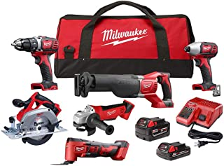 Milwaukee M18 18-Volt Lithium-Ion Cordless Combo Kit (6-Tool) with Two Batteries, Charger and Two...