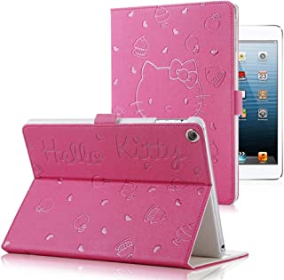 iPad 9.7 2018/2017 Case,Cartoon Hello Kitty Pattern Magnetic Folio Smart Cover with Auto Sleep/Wake & Stand, Hard PC Tablet Protective Back Cover for iPad Air 1 2 iPad 5th 6th Generation(Rose Red)