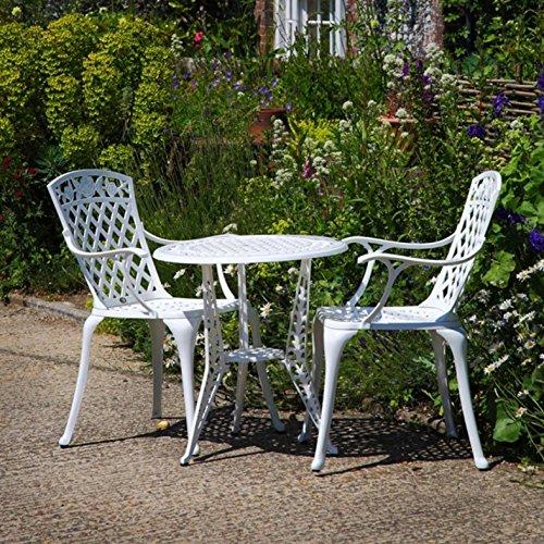 Lazy Susan - IVY Bistrotisch mit 2 Stühlen - Rundes Gartenmöbel Set aus Metall, Weiß (Emma Stühle)