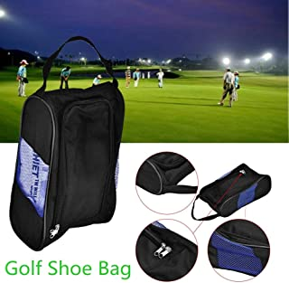 Acogedor Shoe Bags,Travel Golf Shoe Organizer Bags/Boxes, Breathable Nylon with Zipper Sports Shoes Bags, High Grade Double Zipper,Breathable Mesh,Suitable for Sports and Home Use. (Black)