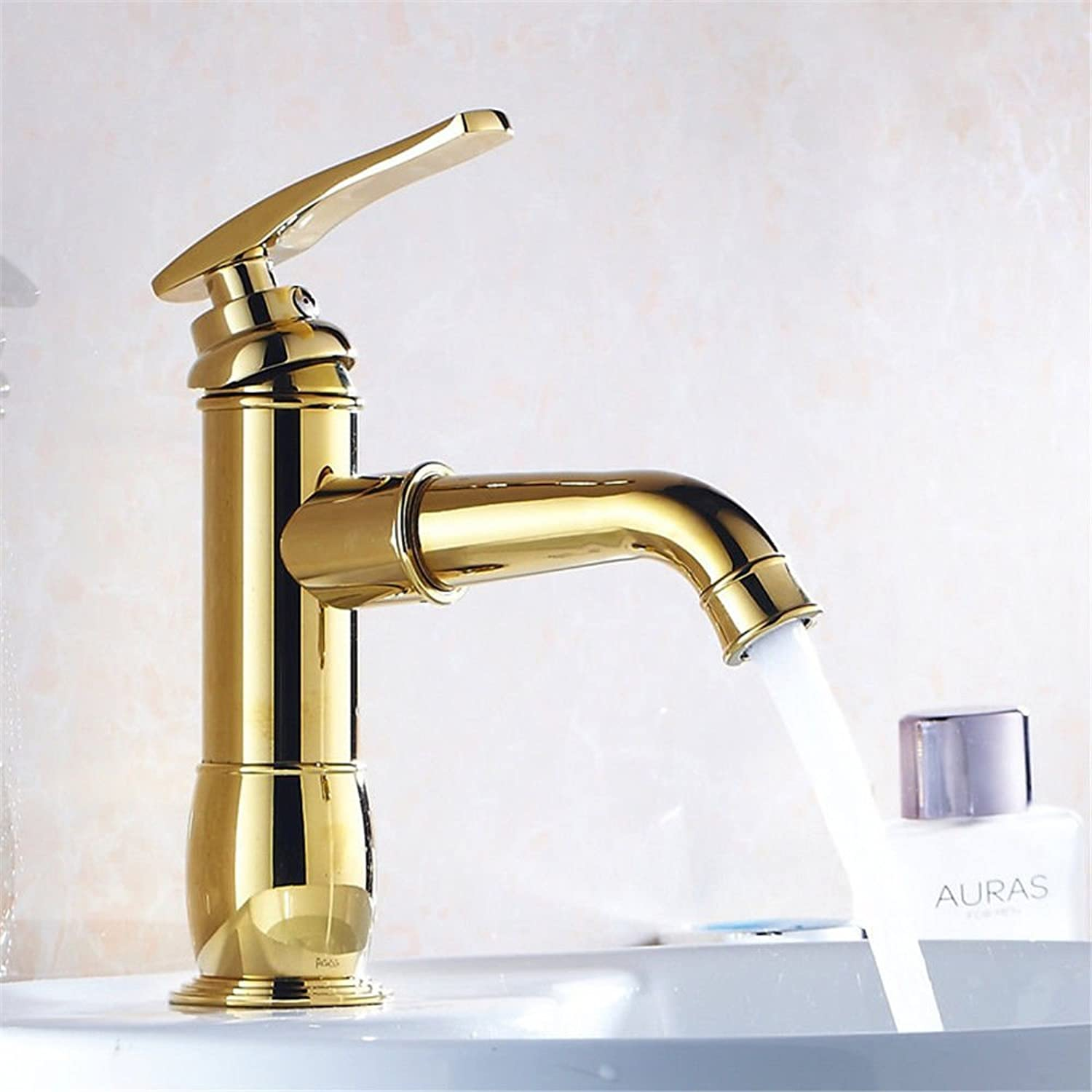 FERZA home Sink Mixer Tap Bathroom Kitchen Basin Tap Leakproof Save Water Copper Antique gold color Mixing Hot And Cold Water Bathroom