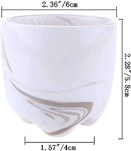 ComSaf Vaso per Pianta Grassa Vaso di Piante con Vassoio di bambù Grigio 6CM Ceramica Set di 3, Fioriere di Cactus Contenitori Vasi di Fiori Decorativo del Desktop Davanzale Bonsai