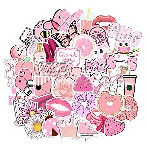 Vanson Stickers for Water Bottles Big 50-Pack Cute, Waterproof, Aesthetic, Trendy Stickers for Teens, Girls Perfect for Waterbottle, Laptop, Phone, Travel
