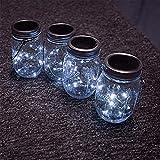ledmomo Solar Mason Jar Coperchio Inserire, 6.6 ft 20 LED Mason Jar Luce solare per barattoli Mason in vetro e giardino decorazione luci solari - Luce Bianca (Non comprende bottiglia)