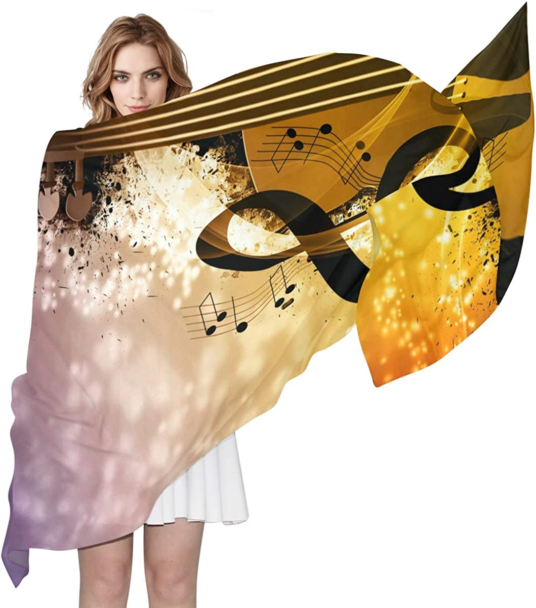 XLING Fashion Scarf Galaxy Music Guitar Piano Long Lightweight Sunscreen Scarf Shawl Wrap Muffler Neckerchief for Women Men