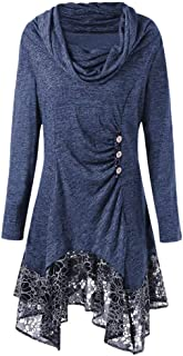 URIBAKE Fashion Women's Blouse Autumn Winter Lace Long Sleeve Patchwork Button Bow-Neck Irregular Mini Dress