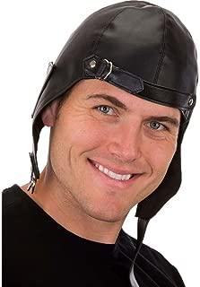 Black Vinyl Aviator Hat,Black,One Size