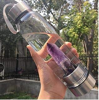 PiniceCore, bottiglia di acqua di cristallo naturale viola portatile guarigione obelisco bacchetta elisir cristallo quarzo...