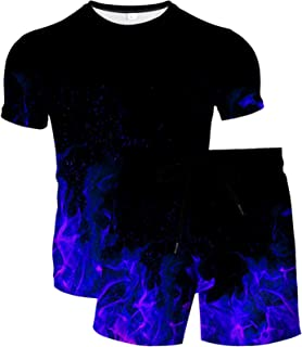 HoneyStore Men's Summer Printed Tracksuit Spoots Short T-Shirt and Shorts Outfits