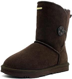 K.Signature Womens Summer Short One Button Sheepskin Winter Boots