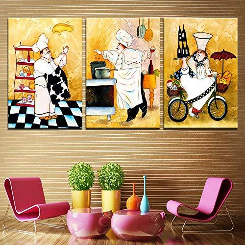 YGKDM 3 Panel Foto Happy Chef Muurkunst Poster Canvas Decoratie Muurschildering voor de woonkamer Kunst Posters en afdrukken ingelijst 50cm x75cm 3pcs Geen frame.