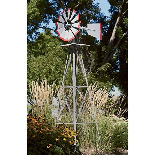 8ft. Ornamental Garden Windmill, Galvanized with Red Tips