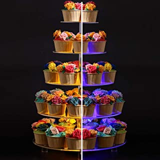 BonNoces 5 Tier Round Cupcake Stand with LED Light, 7 Color Variations - Acrylic Dessert Cake Stand - Tiered Pastry Tower with Base for Wedding, Birthday Party