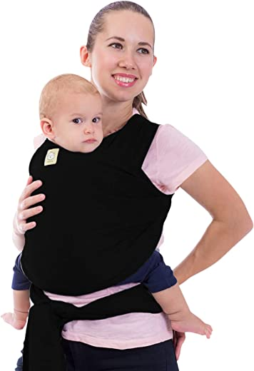 Baby Wrap Carrier by KeaBabies - All-in-1 Stretchy Baby Wraps - 3 Colors - Baby Sling - Infant Carrier - Hands-Free Babies Carrier Wraps   Great Baby Shower (Trendy Black)