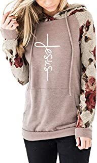 Faith Sweatshirt Floral Long Sleeve Drawstring Casual Hoodies Pullover Tops with Pockets