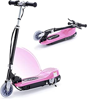 Overwhelming Upgrade E100 Adjustable Handlebar Height Folding Electric Scooter for Kids,160LBS Max Weight Capacity Motorized Scooters, up to 10mph-Pink