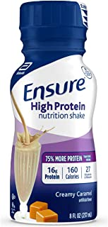 Best Ensure High Protein Nutritional Shake with 16g of Protein, Ready-to-Drink Meal Replacement Shakes, Low Fat, Creamy Caramel, 8 fl oz, 24 Count Review