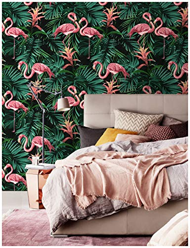 HaokHome 83008 Tropical Banana Leaf Wallpaper Flamingo Birds Wallpaper 20.8' x 33ft Green/Pink/Yellow/Black Art Exotic Home Removable Decorative Palm Tree Leaves Wall Paper