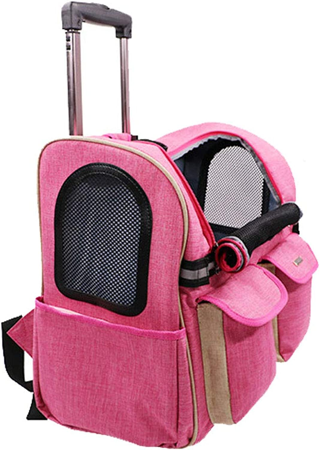 Pet Trolley Case, 2 Rounds of Portable Detachable Folding Dualuse Dog and Cat Outdoor Backpack, Durable WearResistant Bite (color   Pink)