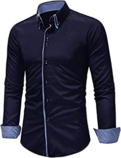 Leomodo Patchwork Button Down Double Layer Collar Shirt