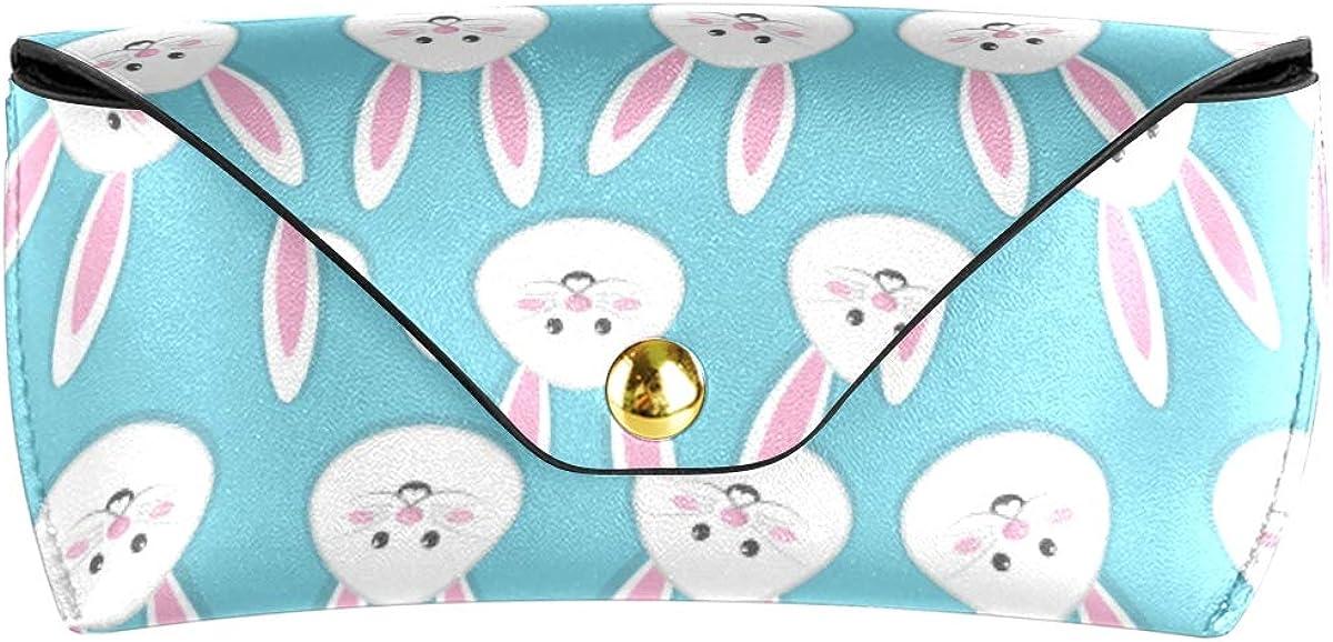 MNSRUU Portable Leather Glasses Case,Durable Soft Sunglasses Pouch Slim Case for Women Men Horizontal Eyeglass Case, Happy Easter Rabbit Icon