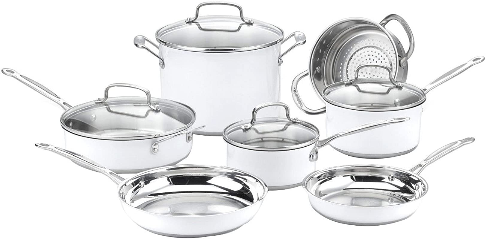 Cuisinart CSMW 11G Chef S Classic Stainless Color Series 11 Piece Set White White