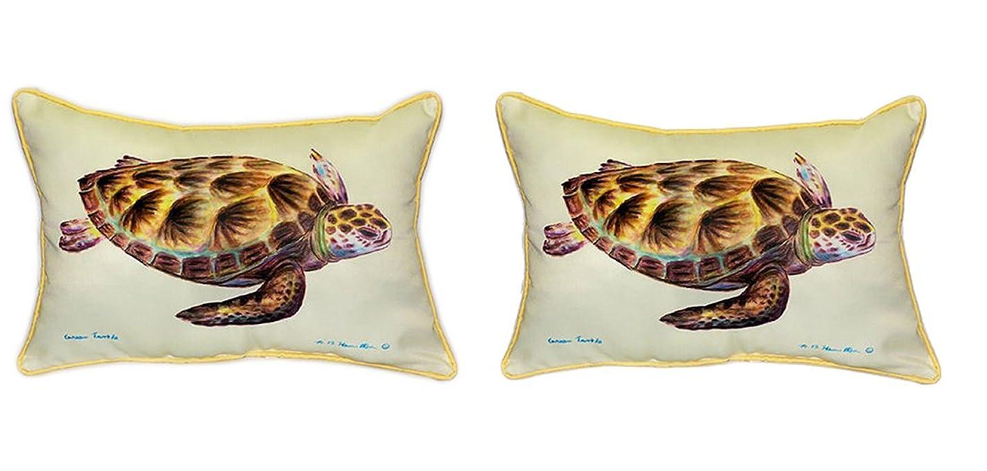 交通策定する薬局ペアのBetsy Drake Green Sea Turtle Large枕15インチx 22インチ