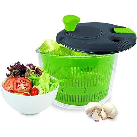 NERTHUS FIH 018 018-Centrifugeuses salades de 20 cm de diamètre, avec Fermeture de sécurité et 2 Sorties/entrées pour Liquide, Couleur Transparent, Stainless Steel, Blanc, Vert, Origine