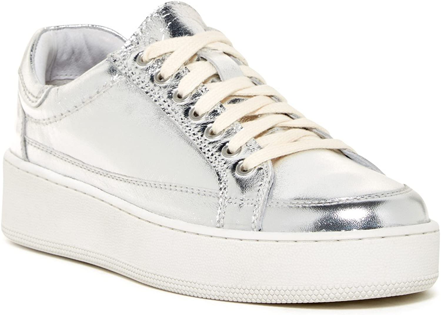 Free People Letterman Leather Sneakers, Metallic Silver 38 8