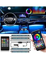 SEAMETAL Led-binnenverlichting voor de auto, 4 stuks, 48 leds, auto-ledstrips, upgrade twee-lijn-design, waterdichte verlichting, app, bestuurbare meerkleurige muziek, binnenverlichting met sigarettenaansteker, 12 V (APP)