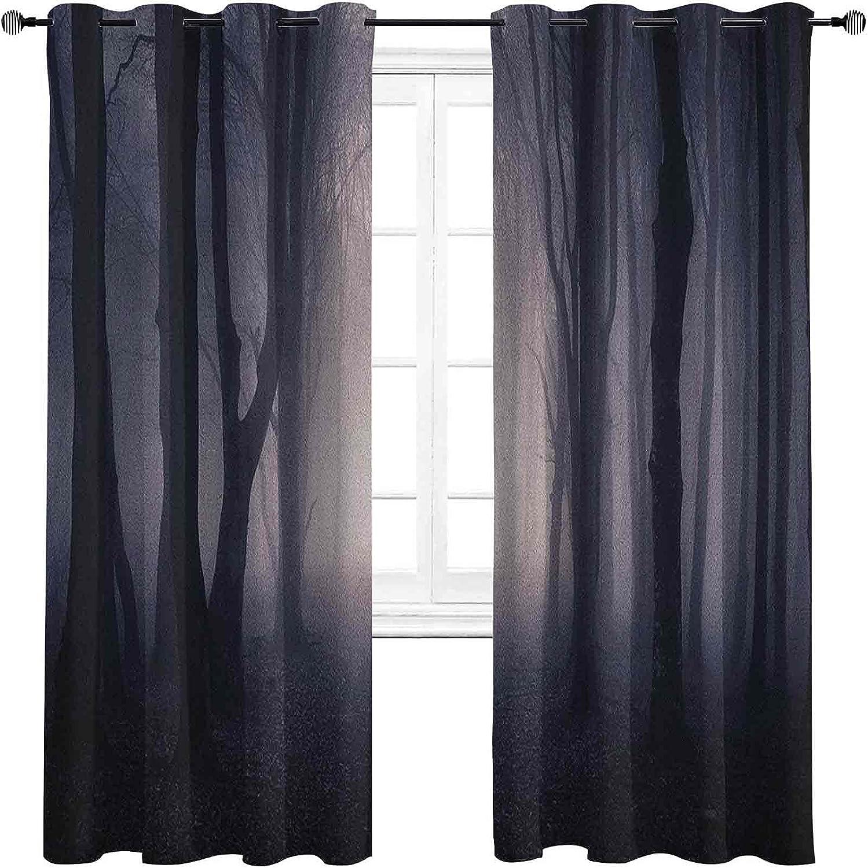 Forest Blackout Regular store Elegant Curtains - Gasket Path Dark Through Insulation