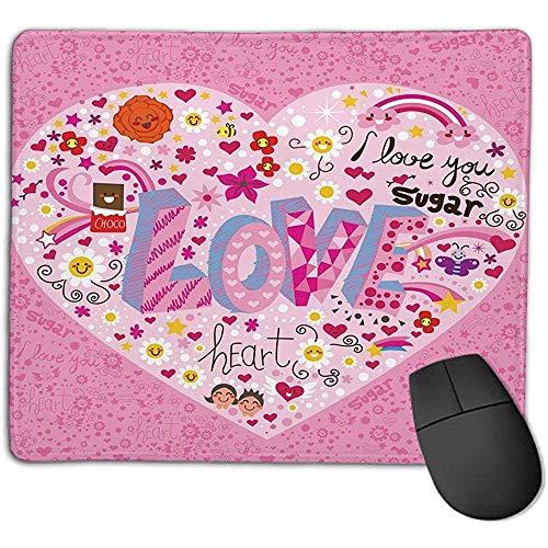 Gaming Mouse Pad Dicker Gummi Große Mauspad Matte Gekritzel,ich liebe dich Zucker Riesenherz mit großen Buchstaben Rechtschreibung Liebe Süßes Lächeln Blumen,Rosa Multicolor,Geeignet für Notebook-Desk