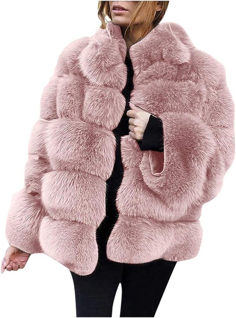 CHENX1NN Women Winter Plus Size Faux Jackets Coat Warm Furry Faux Long Sleeve Outerwear(S/4XL)
