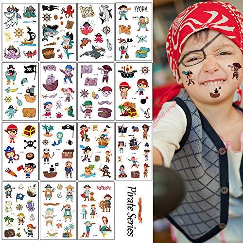 Sunshine smile 15Blätter Tattoo,Cartoon Tattoos Set,Temporäre Tattoos,Tattoo Kinder,Kinder Tattoo Festival Party Geschenk Mitgebsel Dekoration (Pirat)