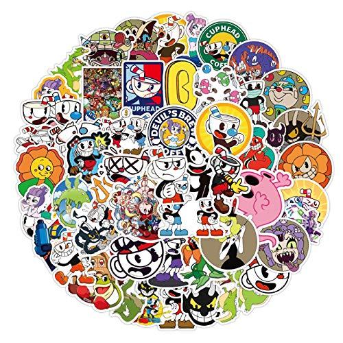 50 unids Teacup cabeza etiqueta maleta maleta impermeable taza casco de dibujos animados lindo teléfono móvil Pvc etiqueta