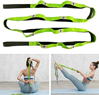 Goolfly Gradient Fitness Stretching Strap Elastic Stretching Strap Ideal for Home Gym Travels Yoga, Pilates, Dance