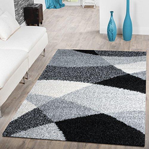 T&T Design Alfombra Shaggy Moderna Pelo Largo Diseño Vigo Negro Gris Blanco Al Mejor Precio, Größe:140x200 cm