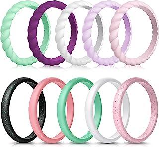 انگشتر عروسی سیلیکونی زنانه Forthee 10 Pack ، بند لاستیکی نازک و بافته شده ، مد ، رنگی متناسب ، راحت ، پوست ایمن
